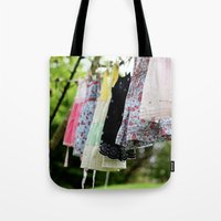 spice girls Tote Bags featuring Sugar and Spice by Christine Hall