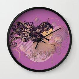 Purple music girl Wall Clock