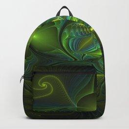 Luminous Abstract Fractal Art, A Blue Green Fantasy Backpack