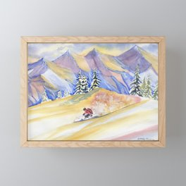 Powder Skiing Art Framed Mini Art Print