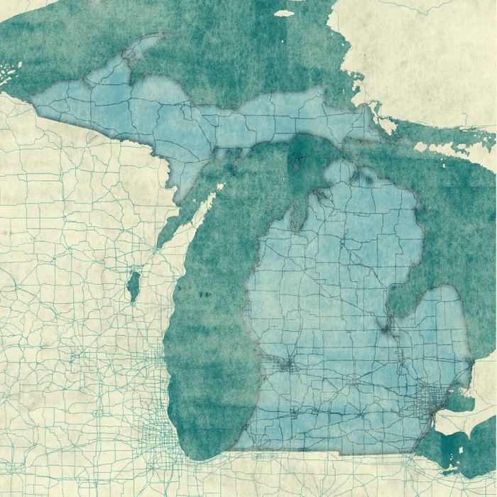 Michigan State Map Blue Vintage Duvet Cover By Hubertroguski Society6