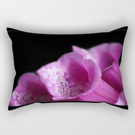 Pink Foxgloves on Black Rectangular Pillow