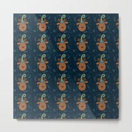 Christmas Moose Blue Pattern Metal Print