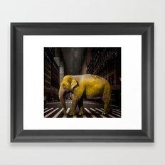 Elephant in New York Framed Art Print