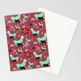 Llama At Dusk pattern Stationery Cards