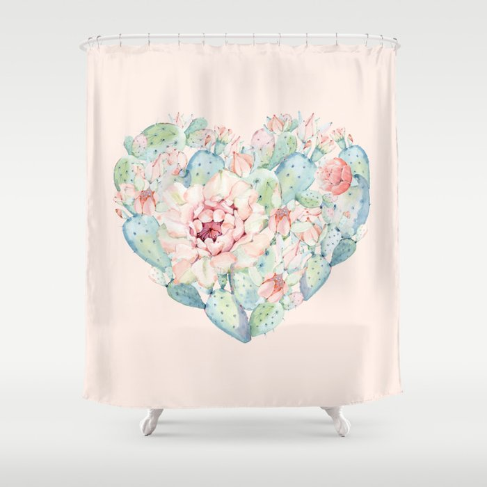 Cactus Rose Heart on Pink Shower Curtain