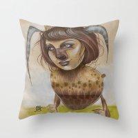 beastie boys Throw Pillows featuring Beastie by busymockingbird