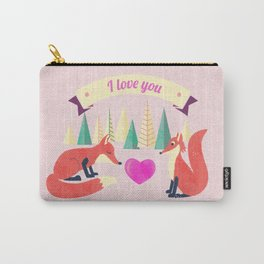 Valentine's Day Foxes in Love Carry-All Pouch