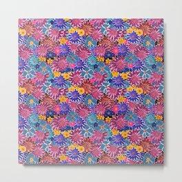 Blue , pink flowers Metal Print