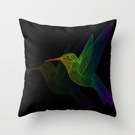 Rainbow Hummingbird Throw Pillow