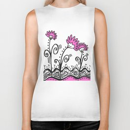 Three Spring Flowers - Pink Biker Tank