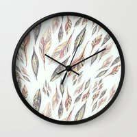 feathers Wall Clocks featuring Feathers by Vasare Nar