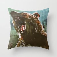 teddy bear Throw Pillows featuring TEDDY by Tina Yu
