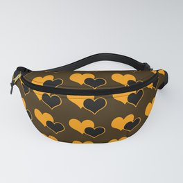 Heart pattern on dark brown Fanny Pack