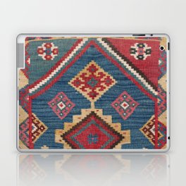 Vintage Woven Kilim // 19th Century Colorful Royal Blue Yellow Authentic Classic Ornate Accent Patte Laptop & iPad Skin