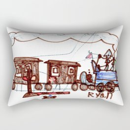 Steam Engine at a Crossing Rectangular Pillow