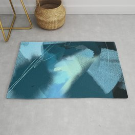 Midnight Blossom: an abstract, mixed media piece in dark and light blue / greens by Alyssa Hamilton Rug