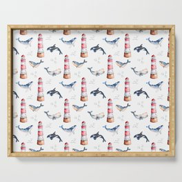 Sea Voyage Whales and Lighthouses Pattern Serving Tray