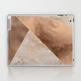 Copper Foil and Blush Rose Gold Marble Triangles Laptop & iPad Skin