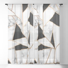 Black & White Marble Sheer Curtain