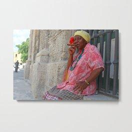 Cuban Lady Smokin in Havana Streets Metal Print