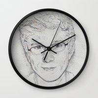tyler spangler Wall Clocks featuring Tyler Oakley by EleanorOrchard