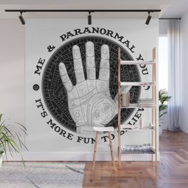 Me & Paranormal You - James Roper Design - Palmistry B&W (black lettering) Wall Mural