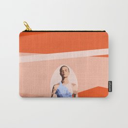 Feminine energy. A woman meditates in the Lotus position. Abstract orange painting. Carry-All Pouch