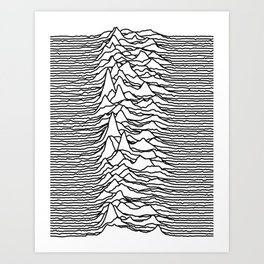 Joy Division - Unknown Pleasures [Black Lines LP] Art Print