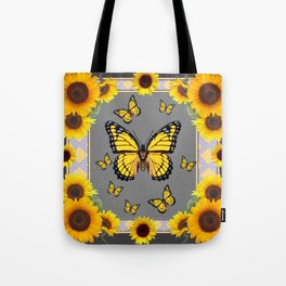 YELLOW MONARCH BUTTERFLIES SUNFLOWER ART Tote Bag