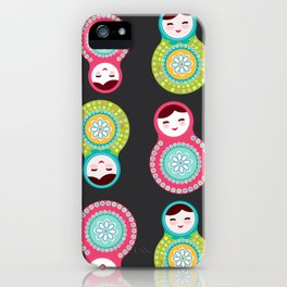 dolls matryoshka on black background, pink and blue colors iPhone Case