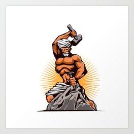 Sculptor Hammer Chisel Retro Art Print
