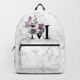 Letter 'M' Magnolia Flower Typography Backpack