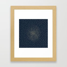Dots Illusion - Gold and Navy Blue Framed Art Print