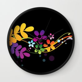 Cut Paper Flowers and Ferns on Black  15K Wall Clock