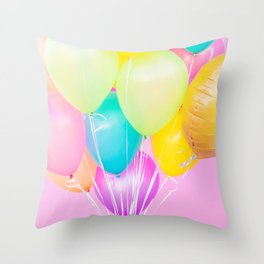 Handheld Balloons on Pink (Close-Up) Throw Pillow