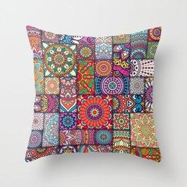 Boho Patchwork Quilt Pattern 2 Throw Pillow