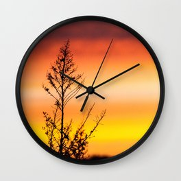 Simple Plant in Camargue Sunrise Wall Clock