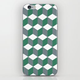 Diamond Repeating Pattern In Quetzal Green and Grey iPhone Skin