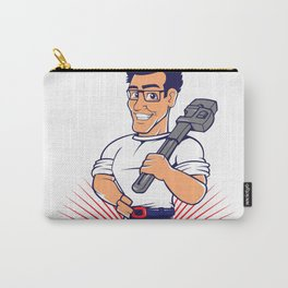 blue plumber holding a big wrench Carry-All Pouch