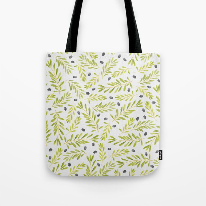 Watercolor Olive Branches Pattern Tote Bag