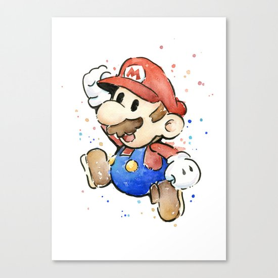 Mario Watercolor Canvas Print