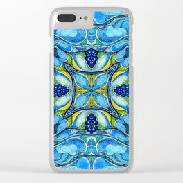 Blue Mandala Clear iPhone Case