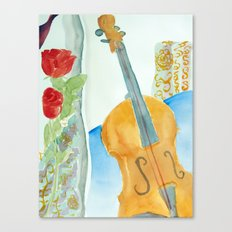 Violin and Roses Canvas Print