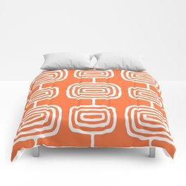 Mid Century Modern Atomic Rings Pattern 771 Orange Comforters