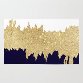 Modern navy blue white faux gold glitter brushstrokes Rug