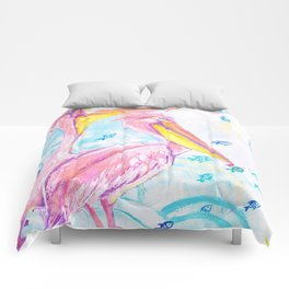 Pink pelicans Comforters