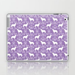 Golden Retriever floral silhouette dog silhouette lilac and white minimal basic dog lover art Laptop & iPad Skin