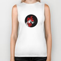 rooster Biker Tanks featuring rooster by Isacco Saccoman