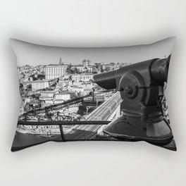 A coin operated scope and the Porto Cityscape, Porto, Portugal Rectangular Pillow